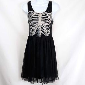 Hot Topic Black Skeleton Ribcage Dress